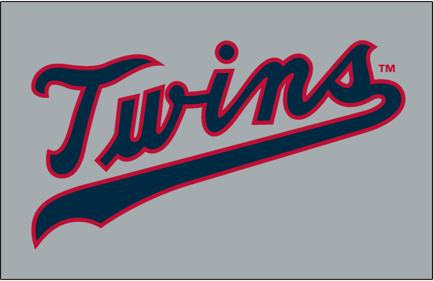 Minnesota Twins Logo Jersey Logo (1961-1971) - Twins scripted in navy with a red outline on grey, worn on Minnesota Twins road jersey from 1961 to 1971 SportsLogos.Net