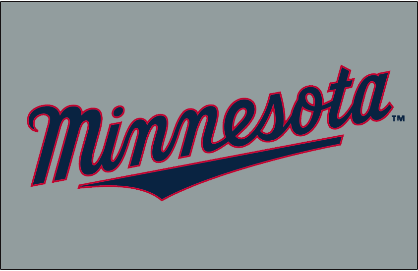 Minnesota Twins Logo Jersey Logo (2010-Pres) - Minnesota scripted in navy with a red outline on grey, worn on Minnesota Twins road jersey since 2010 SportsLogos.Net