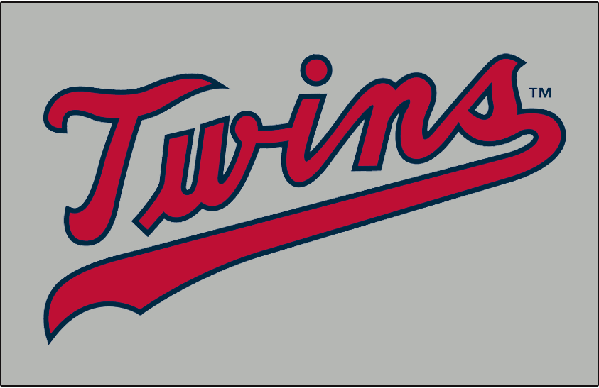 Minnesota Twins Logo Jersey Logo (1972) - Twins scripted in red with a navy outline on grey, worn on Minnesota Twins road jersey in 1972 season only SportsLogos.Net