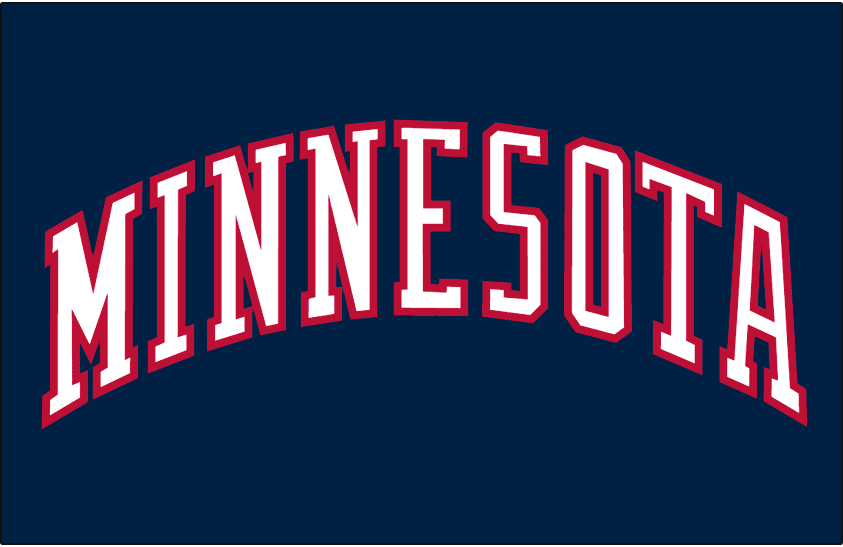 Minnesota Twins Logo Jersey Logo (1997-2008) - Minnesota in white with a red outline on navy, worn on Minnesota Twins road alternate jersey from 1997 until 2008 SportsLogos.Net