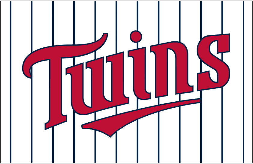 Minnesota Twins Logo Jersey Logo (1987-2009) - Twins in red with a navy outline on a white uniform with navy pinstripes, worn on the Minnesota Twins home jersey from 1987 to 2009 SportsLogos.Net