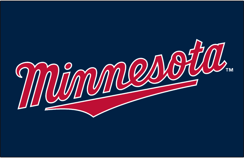 Minnesota Twins Logo Jersey Logo (2011-Pres) - Minnesota scripted in red with a white outline on navy, worn on Minnesota Twins road alternate jersey from 2011-2013, promoted to home and road alterante starting in 2014 SportsLogos.Net