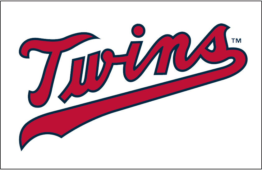 Minnesota Twins Logo Jersey Logo (1972) - Twins scripted in red with a navy outline, worn on Minnesota Twins home jersey in 1972 only. Script adjusted slightly for the 1973 season SportsLogos.Net