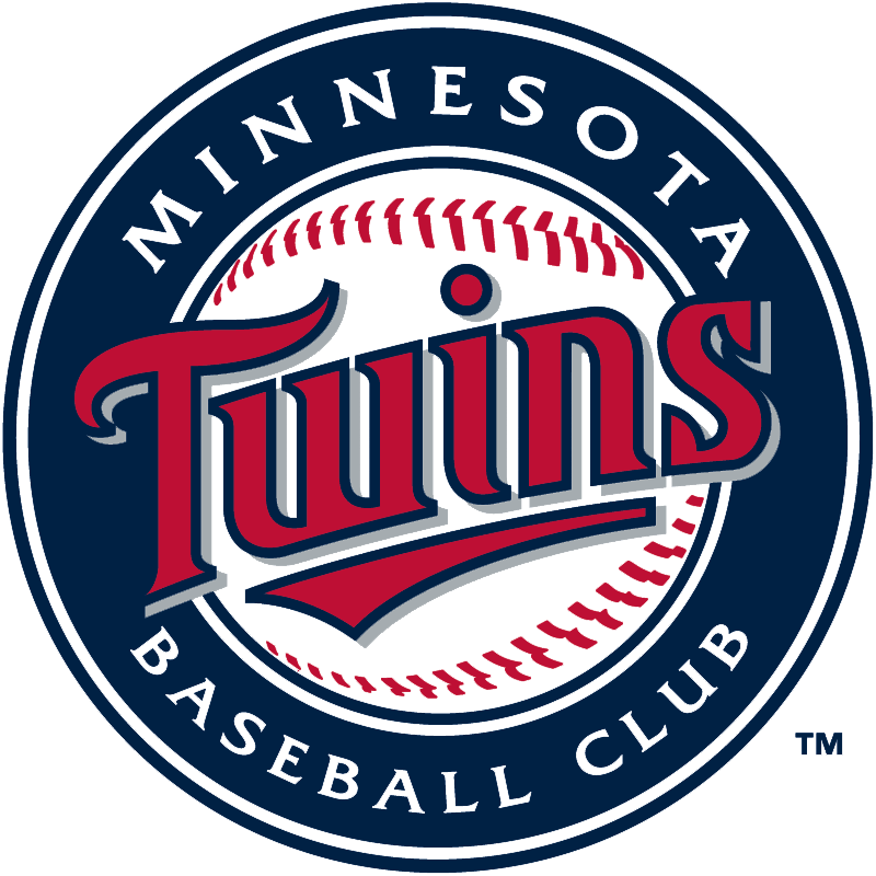 Minnesota Twins Logo Primary Logo (2010-Pres) - Twins in red with underscore highlighting win on a baseball inside a navy circle reading