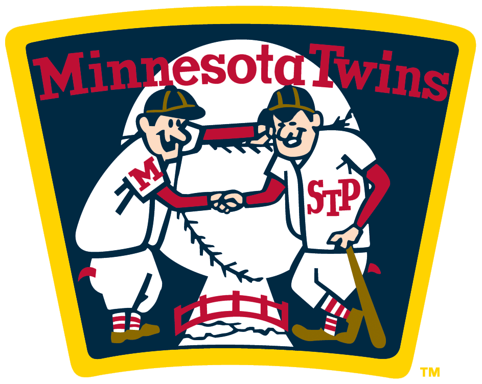 Minnesota Twins Logo Alternate Logo (1961-1986) - Twins (Minnie and Paul) shaking hands over a river - worn on the Minnesota Twins home jersey sleeve from 1961-86 and also on their road jersey from 1961-71 and again from 1973-86. SportsLogos.Net
