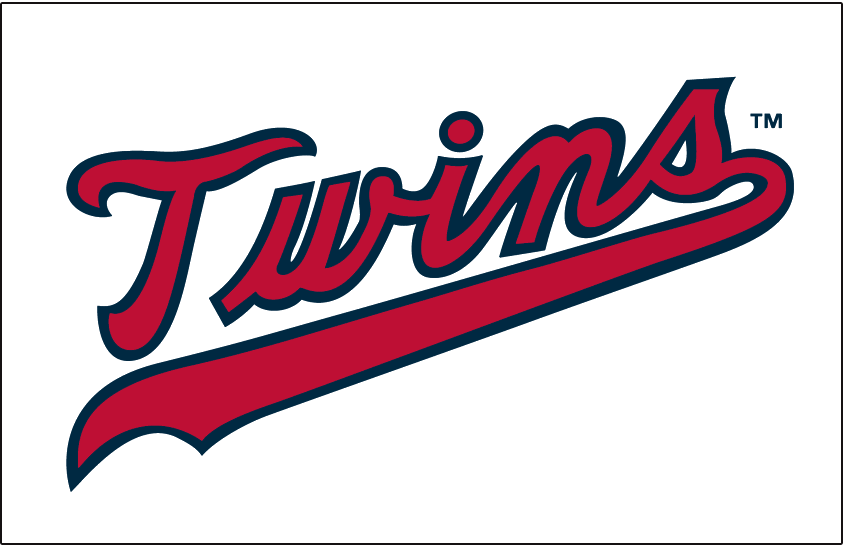 Minnesota Twins Logo Jersey Logo (1973-1986) - Twins scripted in red with a navy outline, worn on the Minnesota Twins home jersey from 1973 to 1986 SportsLogos.Net