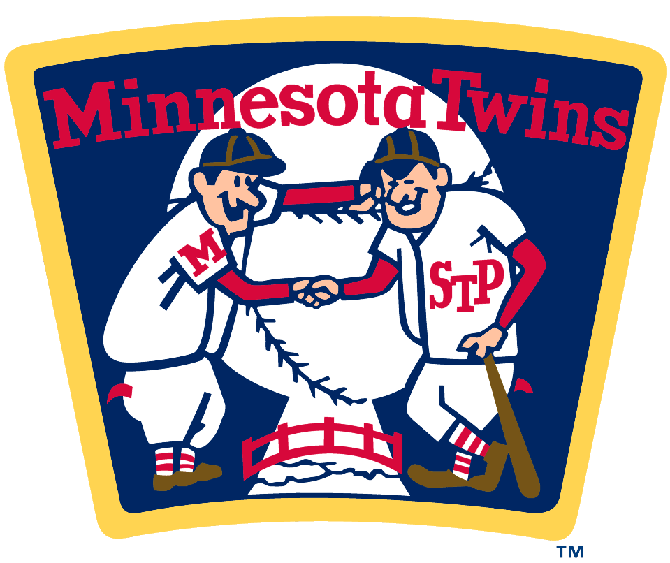 Minnesota Twins Logo Alternate Logo (2009-Pres) - Two twins, representing the cities of Minneapolis and St. Paul, shake hands over a river SportsLogos.Net