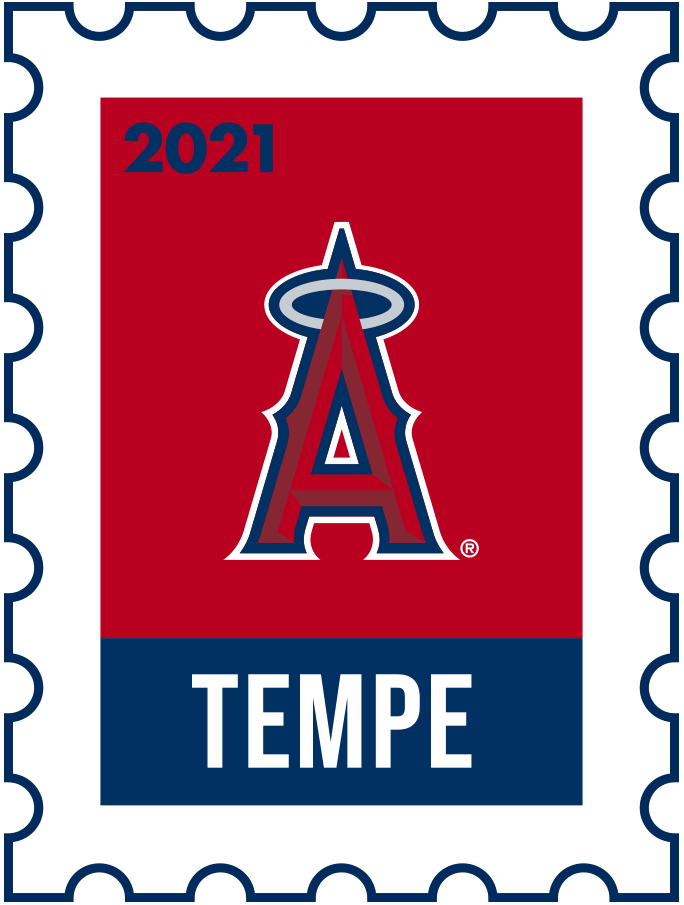 Los Angeles Angels Logo Event Logo (2021) - The Los Angeles Angels 2021 Spring Training logo, the design follows a league-wide style using a postage stamp in team colours with the team logo in the middle. SportsLogos.Net