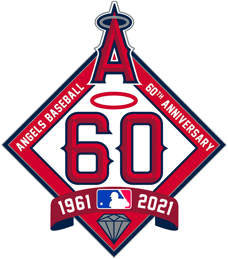Los Angeles Angels Logo Anniversary Logo (2021) - In celebration of their 60th anniversary, the Los Angeles Angels used this logo which showed the number 60 the Angels custom font with a red halo above, a red banner below with the years 1961 and 2021 in white, a silver diamond (for the diamond anniversary), and the Angels team logo at the top. The Angels wore a simplified version of this logo on the side of their caps in 2021. SportsLogos.Net