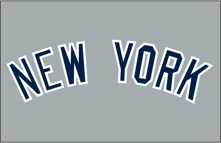New York Yankees Logo Jersey Logo (1973-Pres) - New York in navy with white outline, worn on New York Yankees road jerseys starting in 1973 SportsLogos.Net