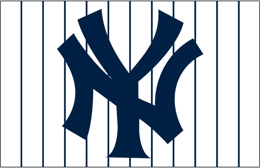 New York Yankees Logo Jersey Logo (1947-Pres) - Interlocking NY in blue on white jersey with blue pinstripes, worn on New York Yankees home jersey since 1947 season SportsLogos.Net