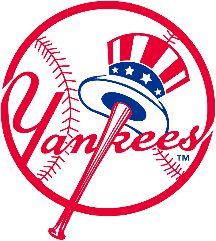 New York Yankees Logo Primary Logo (1968-Pres) - Uncle Sam Hat on bat with Yankees script SportsLogos.Net