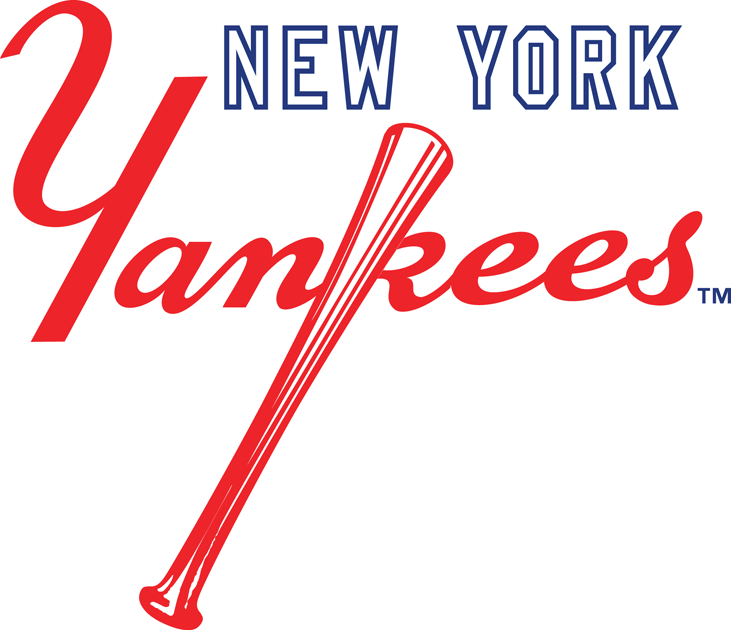 New York Yankees Logo Secondary Logo (1973-Pres) - New York in white above red scripted Yankees with bat SportsLogos.Net
