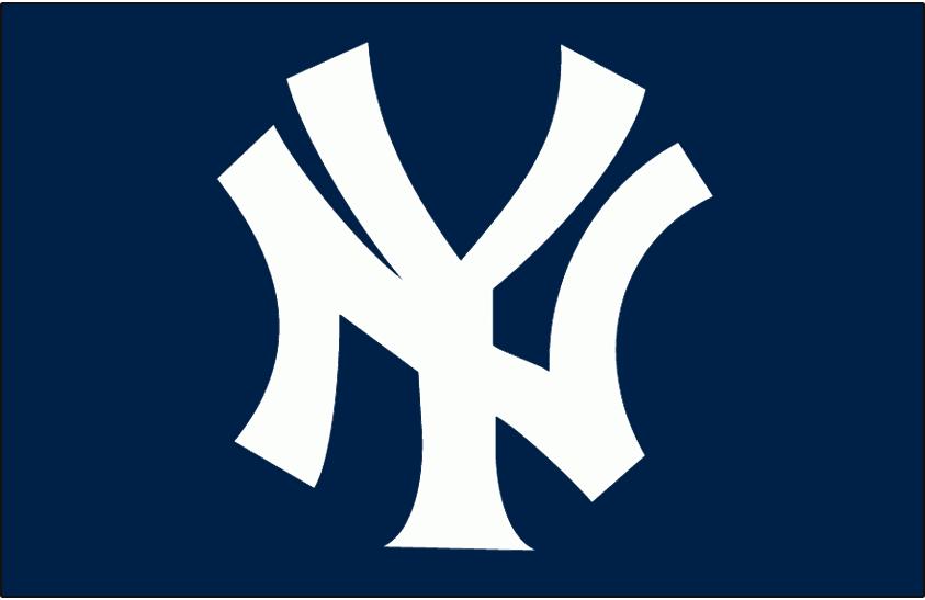 New York Yankees Logo Batting Practice Logo (1981-Pres) - Interlocking NY in white on navy, worn on chest of New York Yankees batting practice jersey SportsLogos.Net