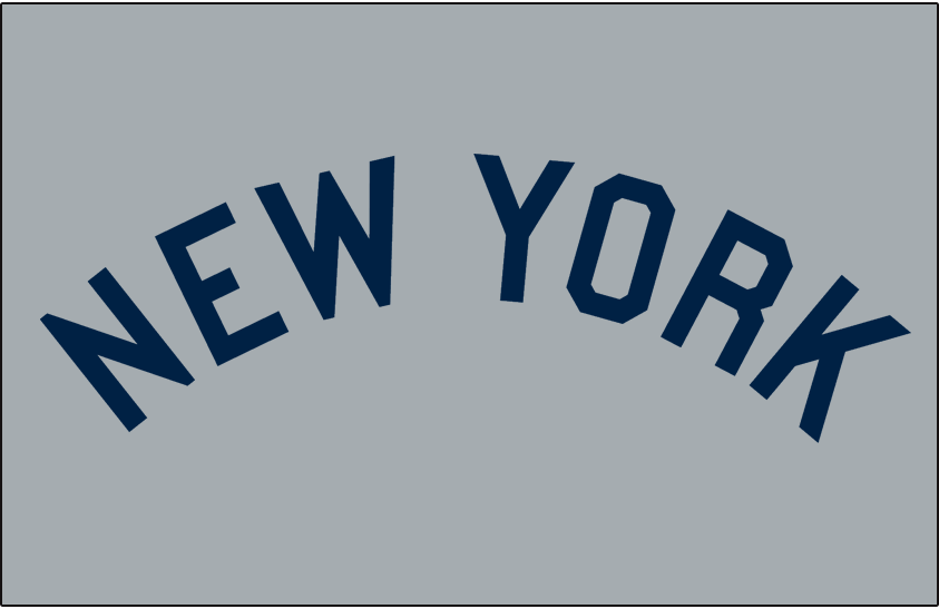 New York Yankees Logo Jersey Logo (1918-1926) - NEW YORK arched in navy blue on grey. Worn on New York Yankees road jersey from 1918 through 1926 SportsLogos.Net