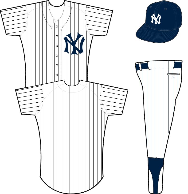 New York Yankees Uniform Home Uniform (1915) - White uniform with blue pinstripes and interlocking NY crest, blue crowned cap with NY emblem SportsLogos.Net