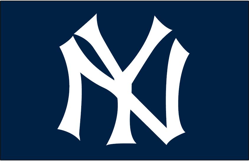 New York Yankees Logo Cap Logo (1934-1948) - NY in white on navy blue, worn on New York Yankees cap from 1934 through 1948 SportsLogos.Net