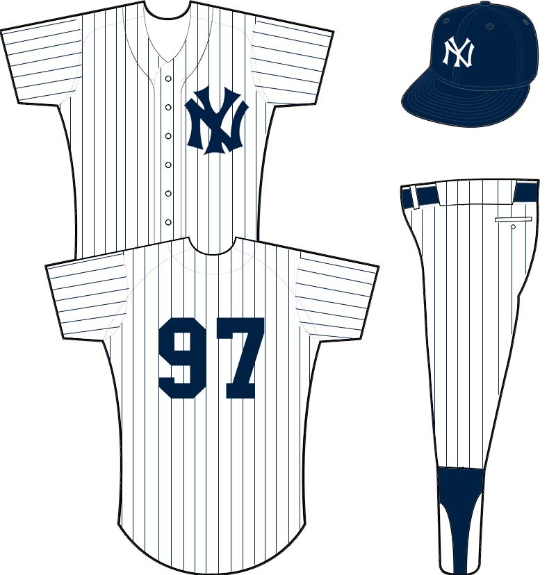 New York Yankees Uniform Home Uniform (1936-1946) - Pinstriped white uniform with NY logo on left chest, cap logo updated slightly for 1936 SportsLogos.Net