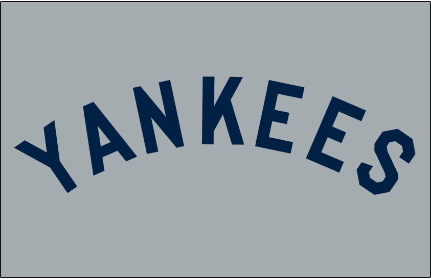 New York Yankees Logo Jersey Logo (1927-1930) - YANKEES arched in navy blue on grey. Worn on New York Yankees road jersey from 1927 through 1930 SportsLogos.Net