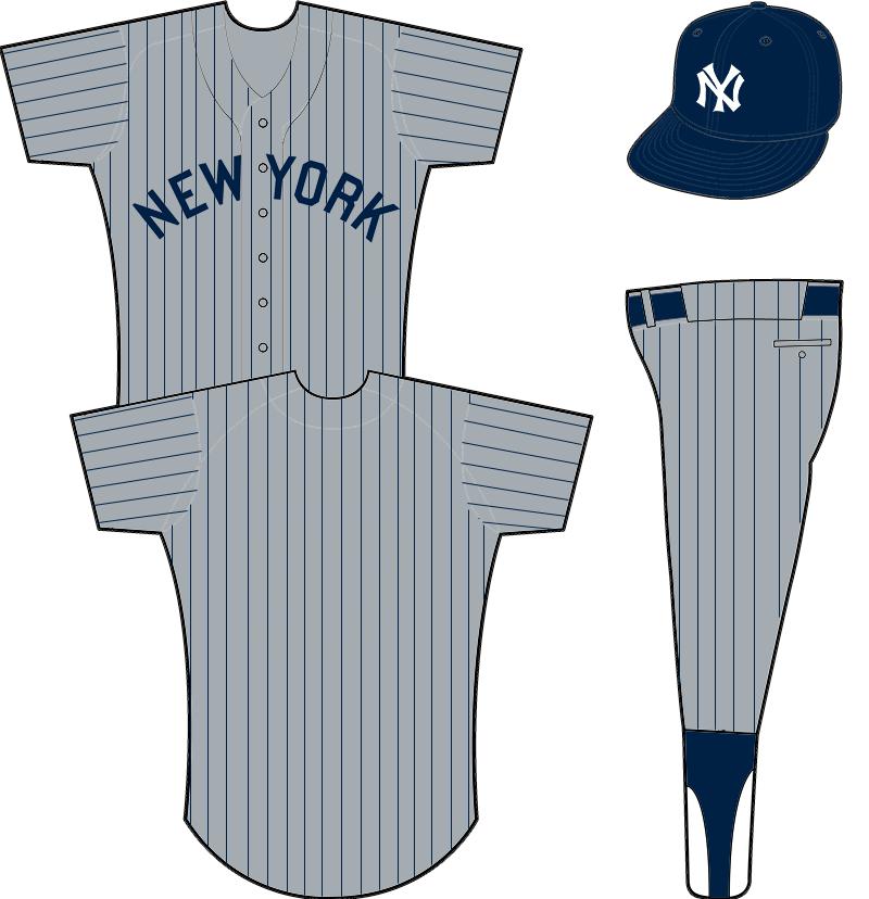 New York Yankees Uniform Road Uniform (1916-1917) - NEW YORK arched in blue on a grey uniform with blue pinstripes SportsLogos.Net