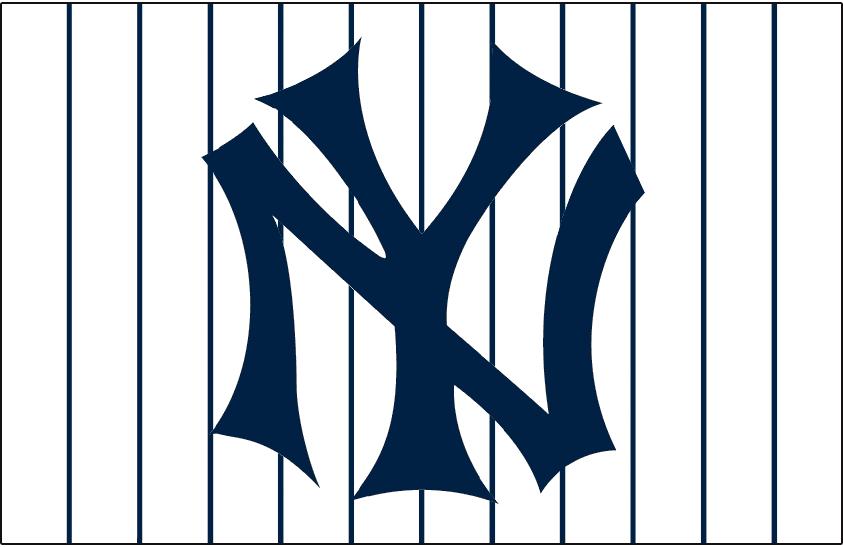 New York Yankees Logo Jersey Logo (1915) - NY interlocked in blue on white with blue pinstripes SportsLogos.Net