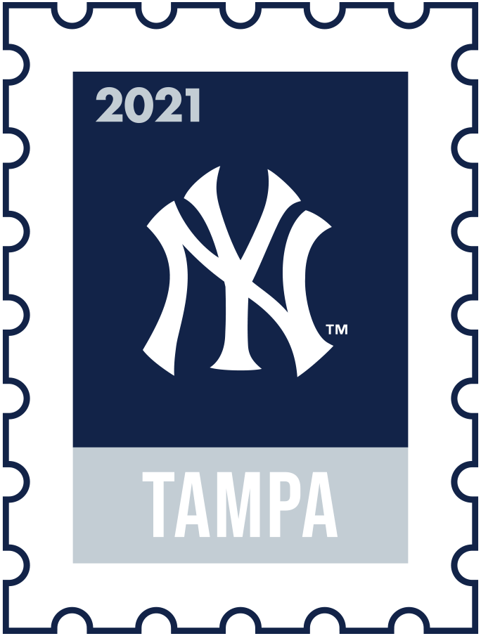 New York Yankees Logo Event Logo (2021) - The New York Yankees 2021 Spring Training logo, the design follows a league-wide style using a postage stamp in team colours with the team logo in the middle. SportsLogos.Net