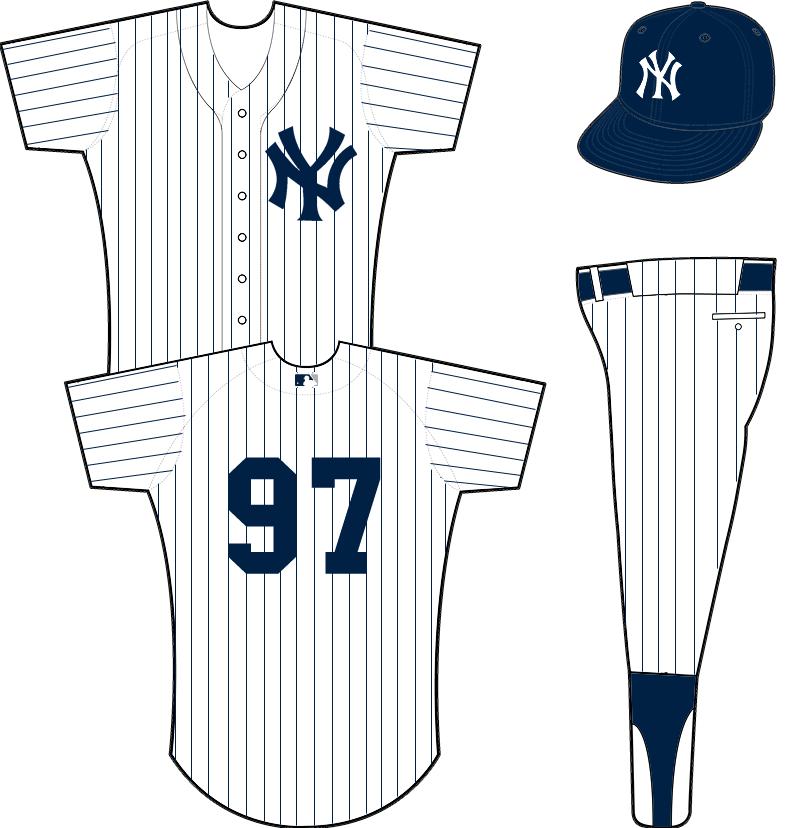 New York Yankees Uniform Home Uniform (1949-Pres) - Navy interlocking NY on a white uniform with navy pinstripes.  MLB logo on back collar added prior to the 2000 season SportsLogos.Net