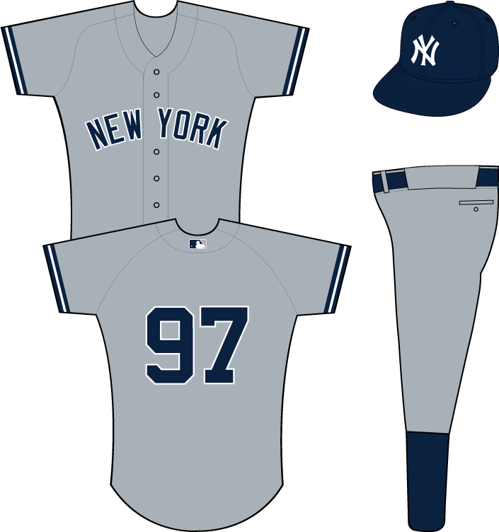 New York Yankees Uniform Road Uniform (1973-Pres) - New York in navy with a white outline on a grey uniform with navy and white sleeve trim.  MLB logo added to back collar prior to the 2000 season. SportsLogos.Net