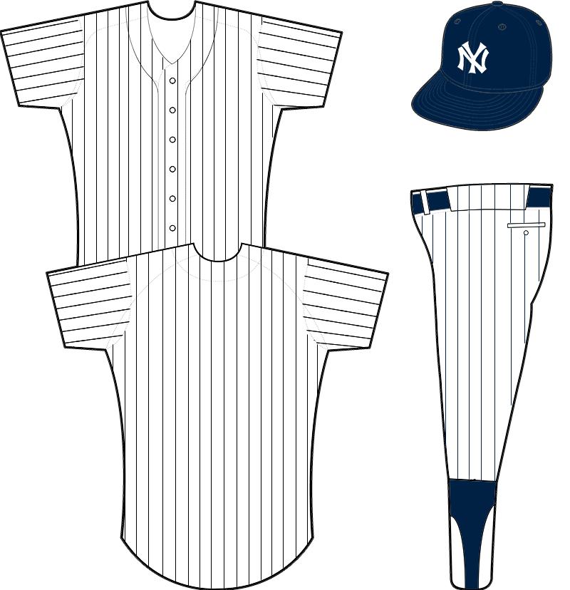 New York Yankees Uniform Home Uniform (1916-1918) - Plain white uniform with blue pinstripes, blue crowned cap with NY emblem SportsLogos.Net