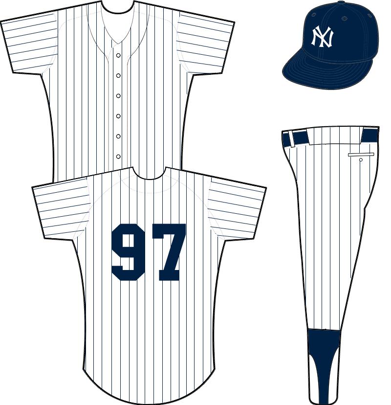New York Yankees Uniform Home Uniform (1934-1935) - Pinstriped white uniform with NY logo on left chest SportsLogos.Net
