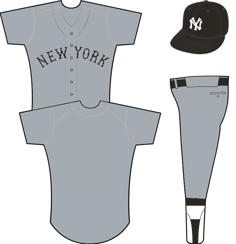 New York Yankees Uniform Road Uniform (1913-1915) - Grey uniform with NEW YORK arched across the front in black, black crowned cap with NY emblem. Worn briefly during 1915 season, kind of like a modern-day