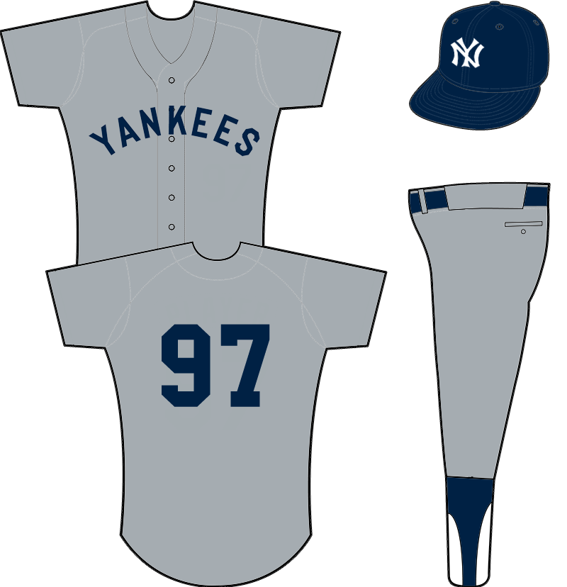 New York Yankees Uniform Road Uniform (1929-1930) - YANKEES arched across front of a grey uniform, player numbers added for 1929 SportsLogos.Net