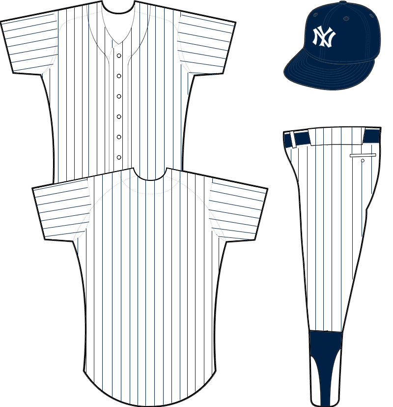 New York Yankees Uniform Home Uniform (1922-1928) - White uniform with navy blue pinstripes, no uniform number on back SportsLogos.Net