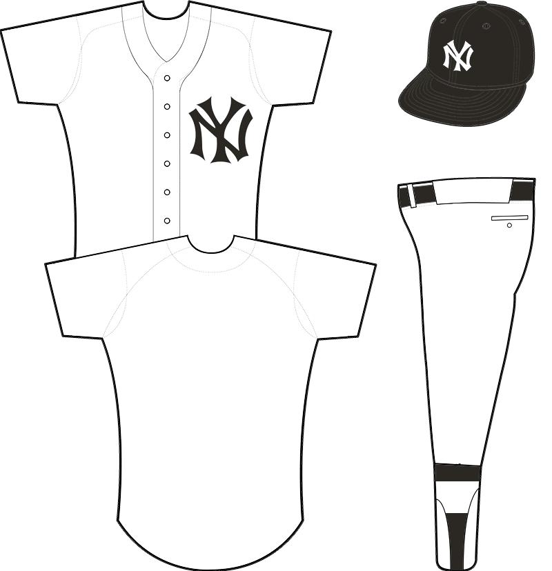 New York Yankees Uniform Home Uniform (1913-1914) - White uniform with interlocking NY crest in black, black crowned cap with NY emblem SportsLogos.Net
