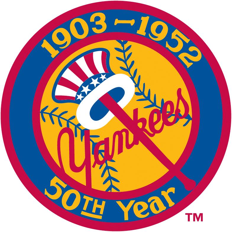 New York Yankees Logo Anniversary Logo (1952) - 50th Anniversary of the New York Yankees Patch SportsLogos.Net
