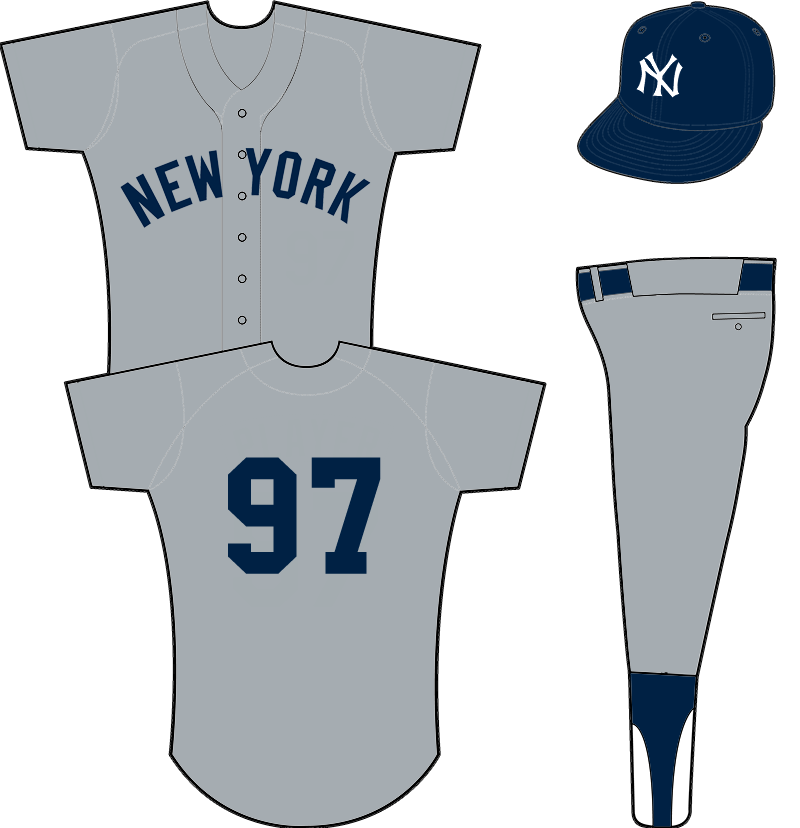 New York Yankees Uniform Road Uniform (1934-1948) - NEW YORK arched across front of a grey uniform, cap logo adjusted for 1934 SportsLogos.Net