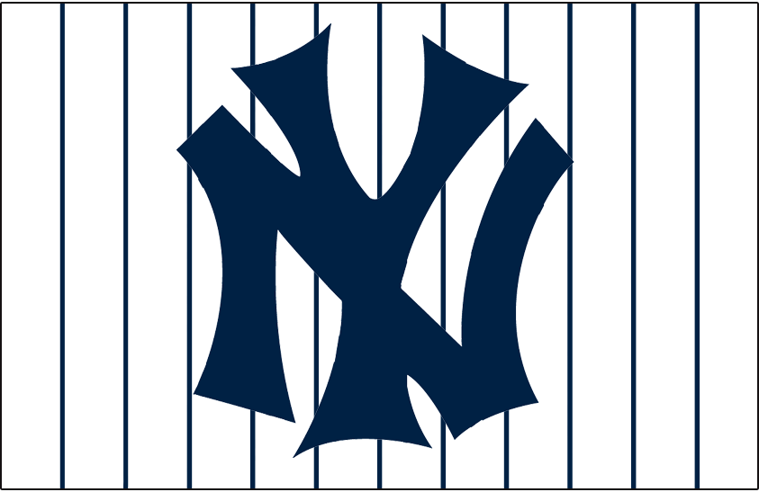 New York Yankees Logo Jersey Logo (1936-1946) - Interlocked NY in blue on white jersey with blue pinstripes, worn on New York Yankees home jersey from 1936 through 1946 SportsLogos.Net