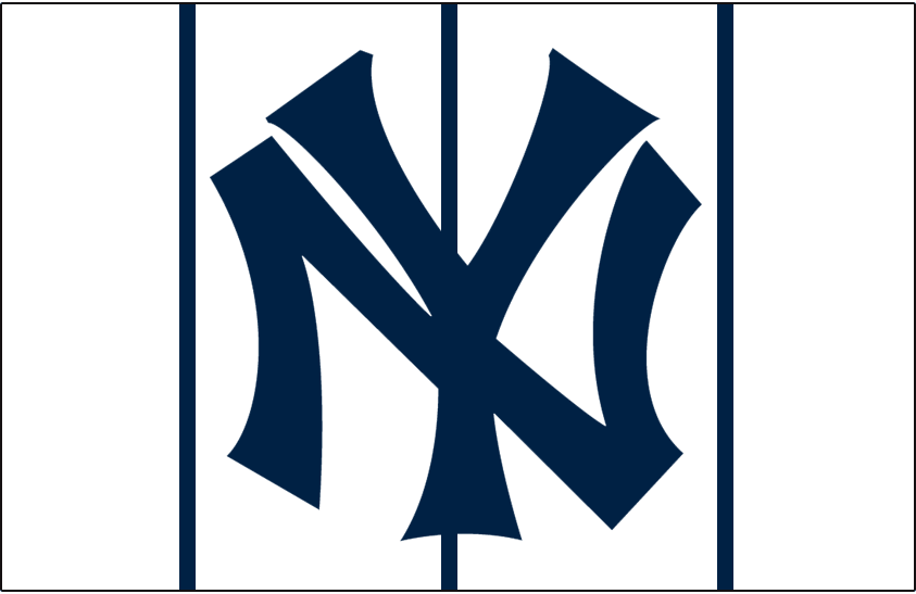 New York Yankees Logo Cap Logo (1919) - Worn with home uniforms during 1919 season.  Famous interlocked NY logo in blue on white with blue pinstripes around the crown of the cap. SportsLogos.Net