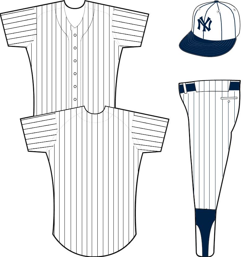 New York Yankees Uniform Home Uniform (1919) - Plain white uniform with blue pinstripes, white crowned cap with NY emblem SportsLogos.Net