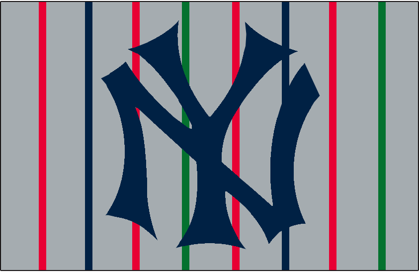 New York Yankees Logo Jersey Logo (1915) - NY interlocked in blue on grey with red, blue, and green pinstripes. Worn on New York Yankees road jersey in 1915 SportsLogos.Net