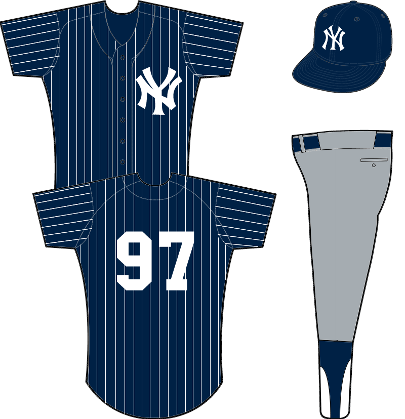 New York Yankees Uniform Unused Uniform (1973) - Navy blue jersey with white pinstripes and white NY logo, an inverse of their existing home uniform -- reportedly proposed as a new road uniform for the 1973 season. SportsLogos.Net