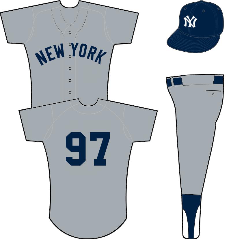New York Yankees Uniform Road Uniform (1931-1933) - NEW YORK arched across front of a grey uniform SportsLogos.Net