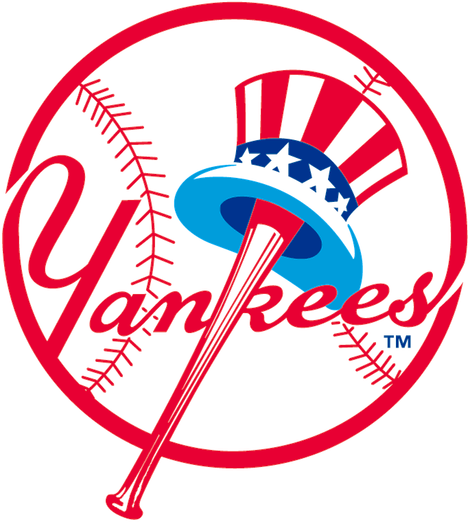 New York Yankees Logo Primary Logo (1947-1967) - Uncle Sam style stars-and-stripes tophat on a red baseball bat. Team script inside a baseball SportsLogos.Net