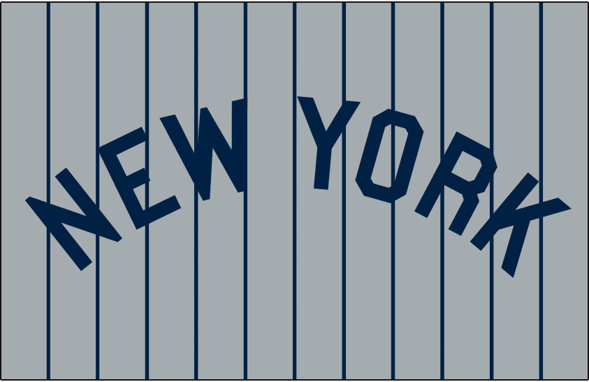 New York Yankees Logo Jersey Logo (1916-1917) - NEW YORK arched in navy blue on grey with blue pinstripes. Worn on New York Yankees road jersey in 1916 and 1917 SportsLogos.Net
