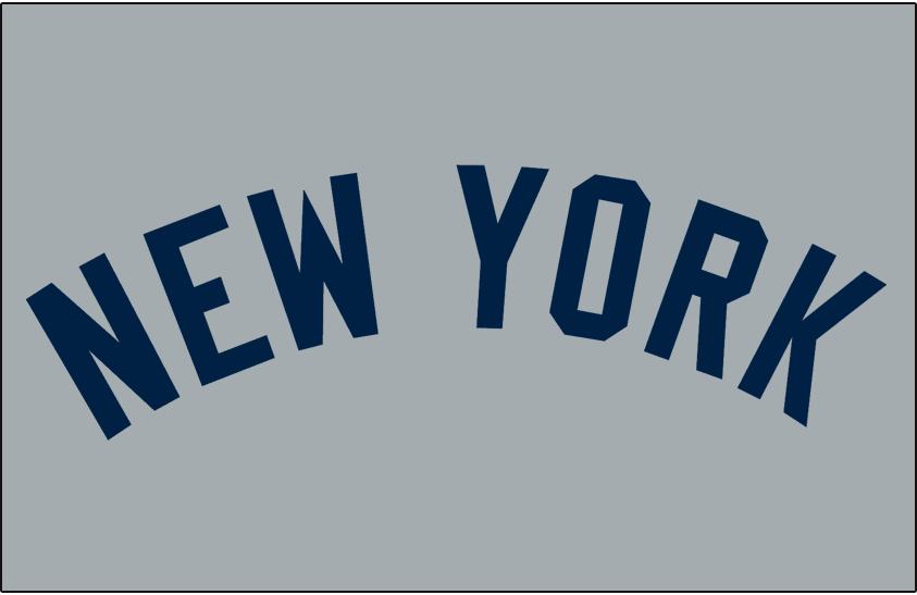 New York Yankees Logo Jersey Logo (1931-1972) - New York in navy on grey, worn on the New York Yankees road uniforms from 1931-1972 SportsLogos.Net