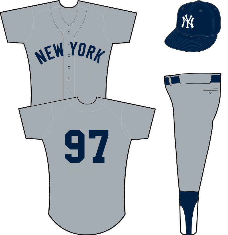 New York Yankees Uniform Road Uniform (1949-1972) - New York in navy on grey. White outlines were added to the wordmark across the jersey and player number following the 1972 season. SportsLogos.Net