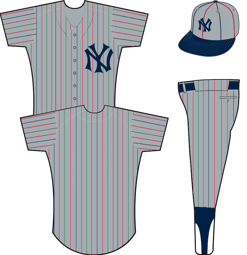 New York Yankees Uniform Road Uniform (1915) - NY in blue interlocked on a grey jersey with red, green, and blue pinstripes.  SportsLogos.Net