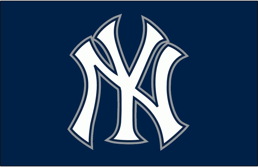 New York Yankees Logo Batting Practice Logo (2007-Pres) - Blue and White Interlocking NY on Blue, worn on the New York Yankees batting practice cap starting in 2007 SportsLogos.Net