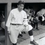 New York Yankees (1918) Armando Marsans in New York Yankees home jersey with red/white/blue memorial arm band for the war, 1918
