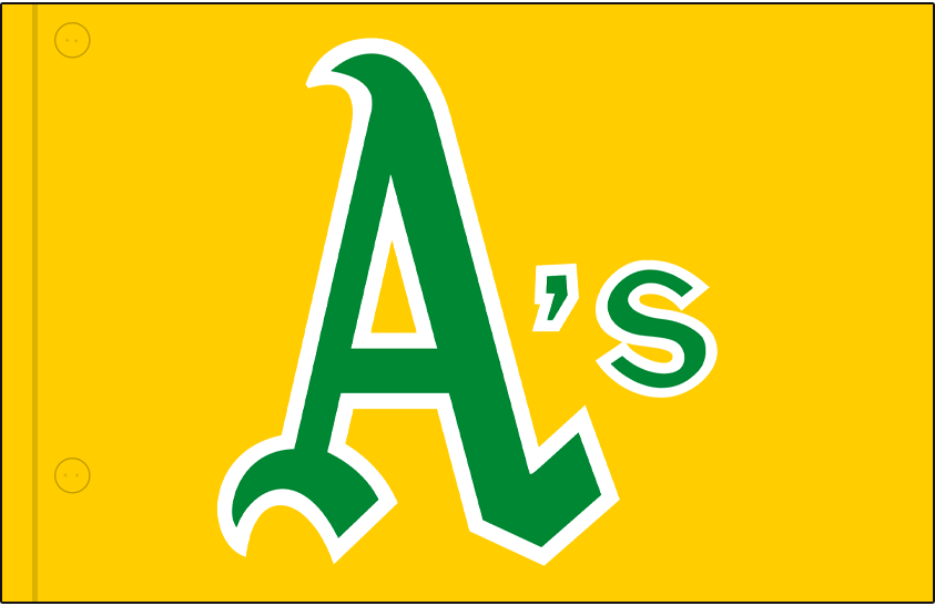 Oakland Athletics Logo Jersey Logo (1970-1971) - A's in green and white on a gold jersey, worn on Oakland Athletics alternate jersey in 1970 and 1971 SportsLogos.Net